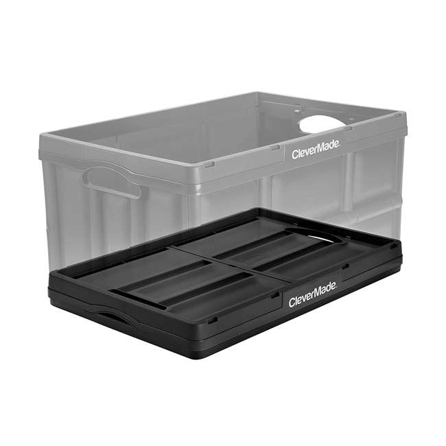 8031748-0063PK CleverMade Durable Stackable 62L Home Collapsible Storage Bins, Black (3-Pack) 3