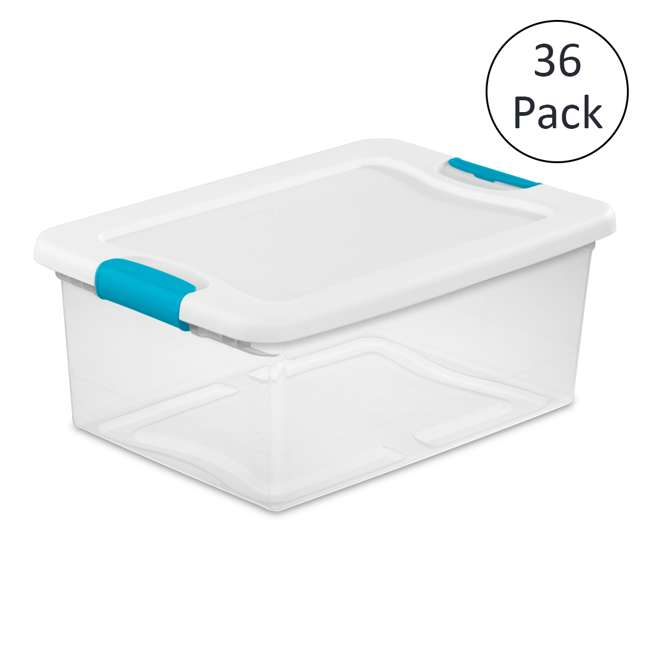 Sterilite 1494 15-Quart Clear Latching Stacking Storage