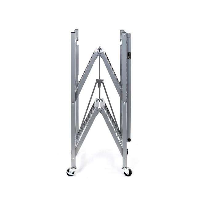 R3-01 Origami R3 General Purpose Foldable 3-Tiered Shelf Storage Rack w/ Wheels, Small 2