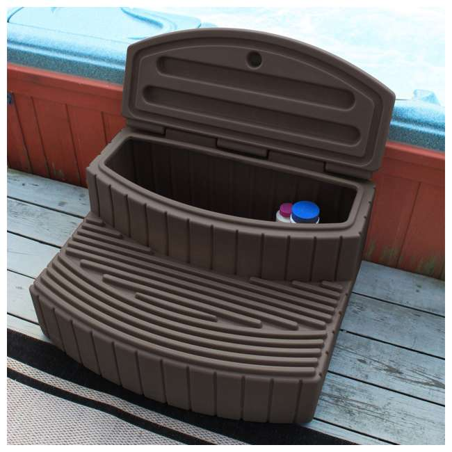 SSTEP-OAK Good Ideas Sora Steps Lightweight Plastic Outdoor & Indoor Storage Step, Oak 3