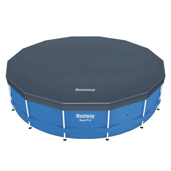 58248E-BW-U-A Bestway Round PVC 14 Foot Pool Cover for Above Ground Pro Frame Pools (Open Box) 2