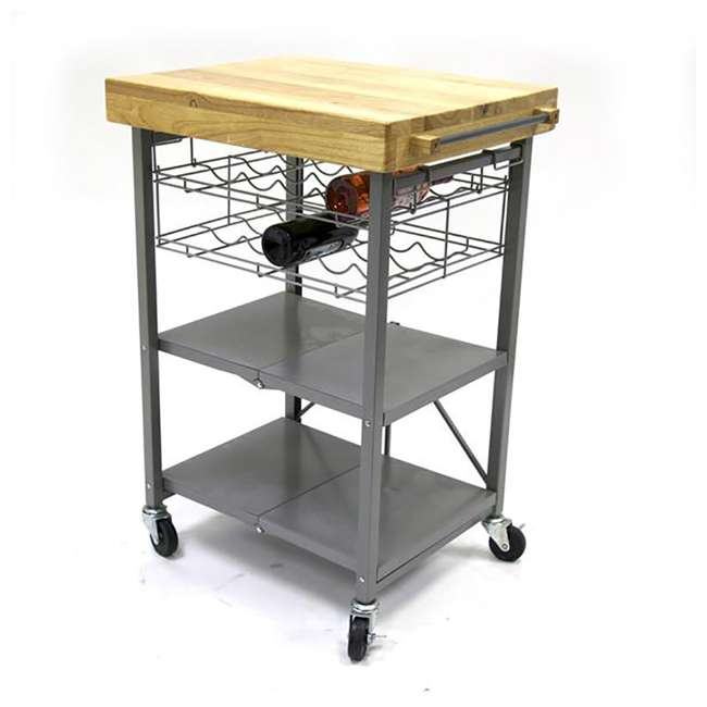 RBT-04 + R-KC-01 Origami Kitchen Island Bar Cart with Double Wine Rack 8