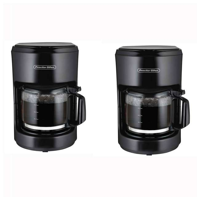 48351 Proctor Silex 10 Cup Coffee Maker, Black (2 Pack)