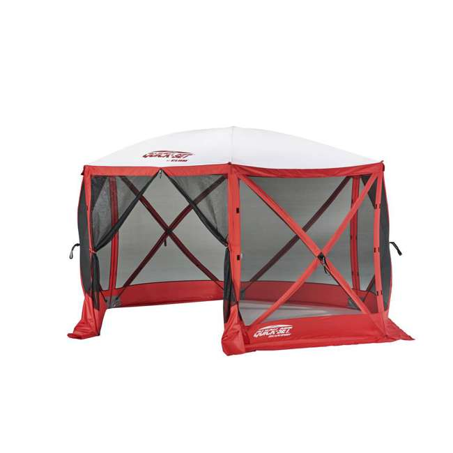 CLAM-ESS-14200 + 2 x CLAM-WP-ESS-14204 Clam Quick Set Tailgating Shelter + Wind & Sun Panels (6 pack) 1