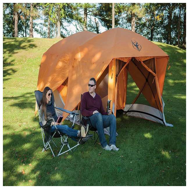 GAZL-26800-U-B Gazelle Tents T4 Plus Outdoor Pop Up 8 Person Hub Tent with Screen Room, Orange 5