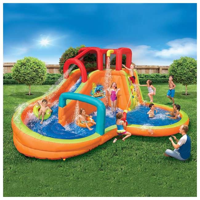 14000 Banzai Kids Inflatable Lazy River Adventure Water Park Slide and Pool (Open Box) 1