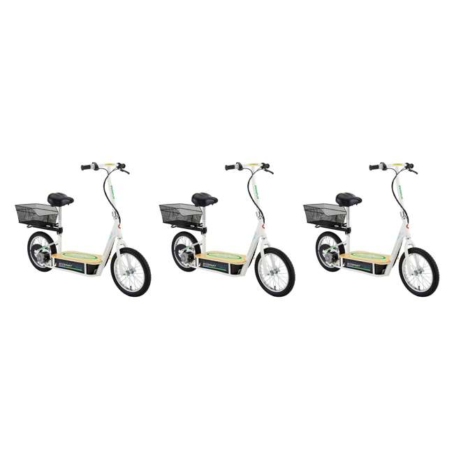 3 x 13114501 Razor EcoSmart Metro Electric Adult Scooter with Seat & Rack, Green (3 Pack)