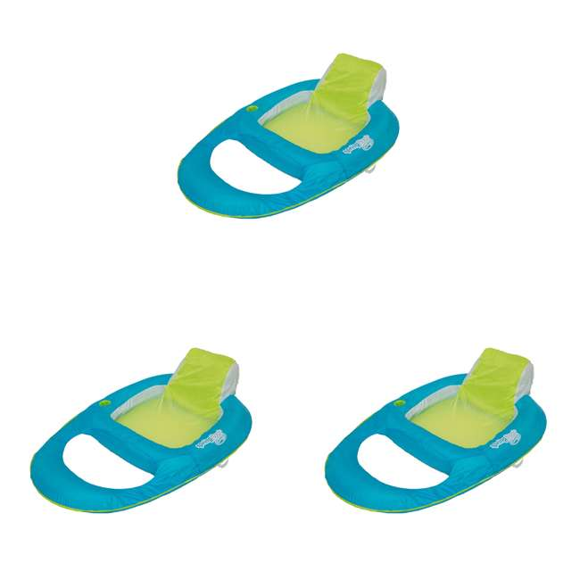 3 x 6047200-SW SwimWays Spring Float Recliner Inflatable Pool Lounger, Aqua/Lime (3 Pack)