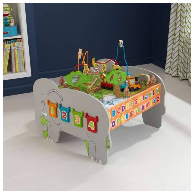 17508 KidKraft Kids Toddler Wooden Zoo Train Play Table Activity Station with Storage 2