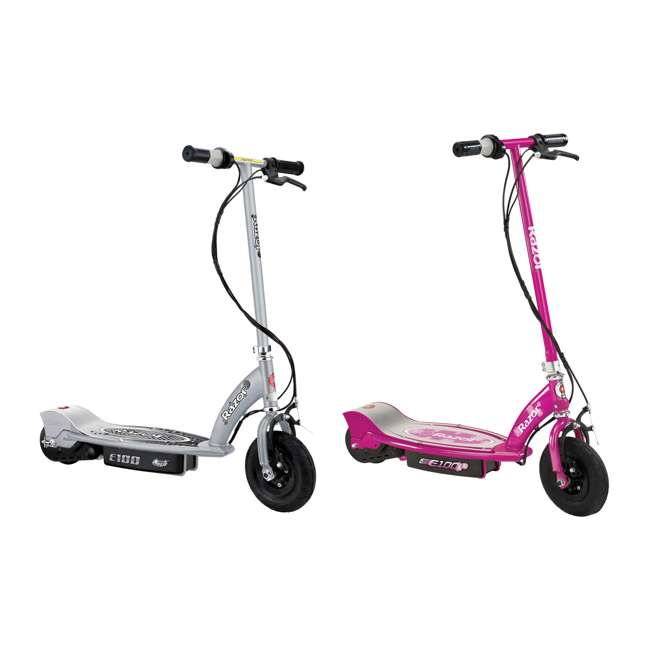13181112 + 13111263 Razor E100 24 Volt Electric Powered Ride On Scooter, Silver and Pink (2 Scooters)