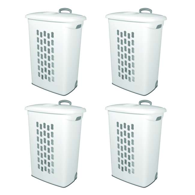 4 x 12228003 Sterilite White Laundry Hamper With Lift-Top, Wheels, And Pull Handle (4 Pack)