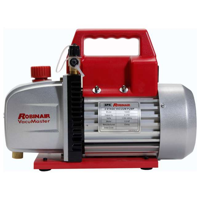 ROB-15500 + RB-48510 Robinair Heavy Duty 1/3 HP 2 Stage Vacuum Pump with Refrigerant Manifold Set 2