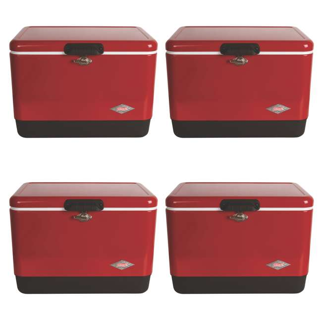 4 x A-3000003539-W Coleman 54-Quart Steel Belted Ice Cooler, Red (4 Pack)