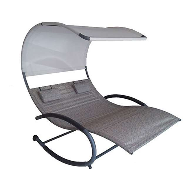 CHAISERK2-SA-U-B Vivere Double Seated Chaise Canopy Steel Rocking Patio Chair, Sienna (Used)
