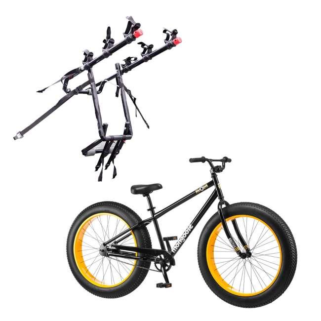 "R4140 + 103DN-R Mongoose 26"" Brutus Mens Alloy All Terrain Mountain Bike & 3 Bike Car Trunk Rack"