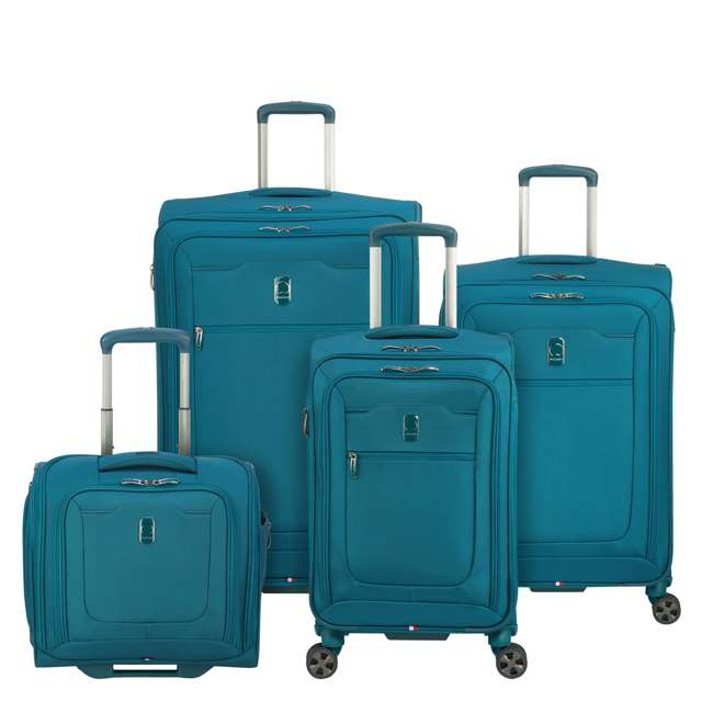 40229194732 DELSEY Paris 4 Sized Reliable Hyperglide Softside Travel Luggage Bag Set, Teal