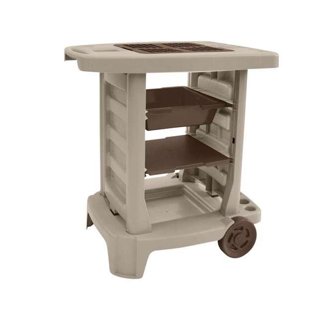 GC1500B Suncast Portable Outdoor Garden Center Station Tool Cart, Light Taupe (Used)