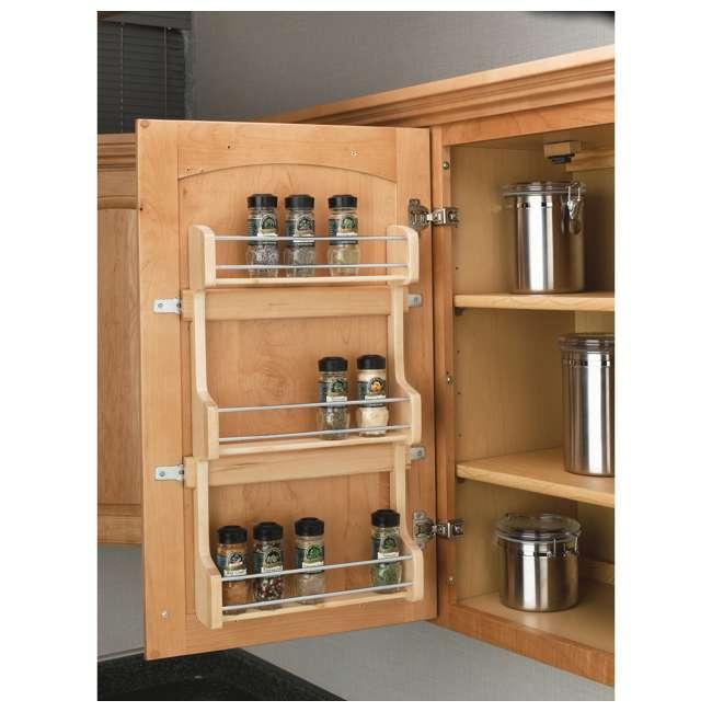 4SR-18 Rev-A-Shelf 18 Inch Cabinet Door Mount Wood 3 Shelf Spice Rack with Hardware 2