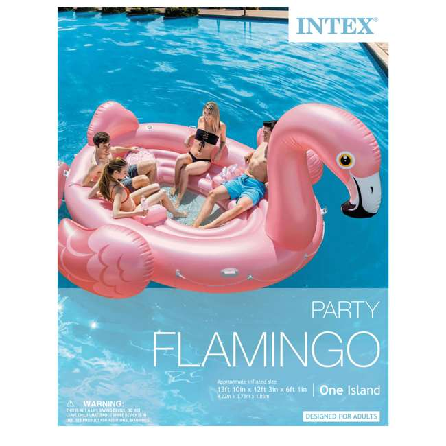 57267EP + 66643E Intex Flamingo Party Inflatable Ride On Pool Float + 120V Quick-Fill Air Pump 4
