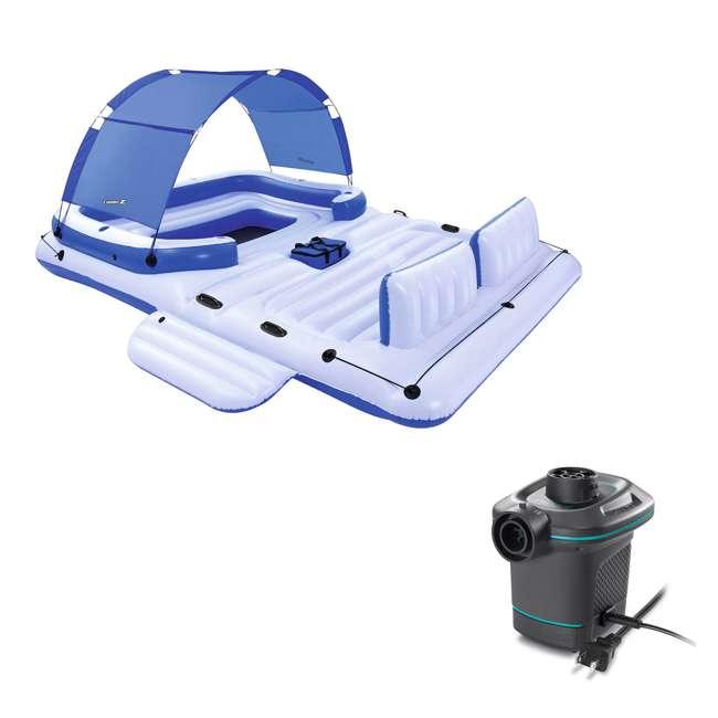 43105E-BW + 66639E Bestway CoolerZ 6 Person Raft + Electric Air Pump