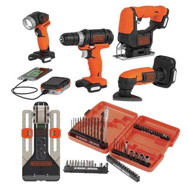 BDCK502C1 + 71-966 + BDMKIT101C Black & Decker Drill Driver Combo Kit & 66 Piece Bit Set & Picture Hanging Kit