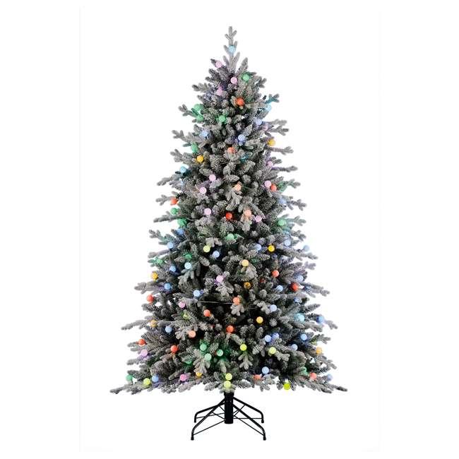 TG76P3B07P05 Home Heritage Victoria 7.5 Foot Flocked Christmas Tree with Color Blast Lights