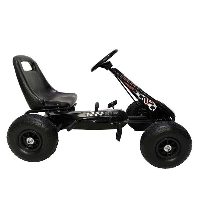 1 PGCBLK NextGen Childrens Kids 4 Wheel Ride On Car Pedal Go Cart & Safety Helmet, Black 2
