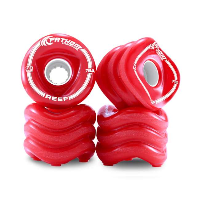 8941 Shark Wheel 70MM Reef 4-Piece Innovative Skateboard Wheel Set, Red
