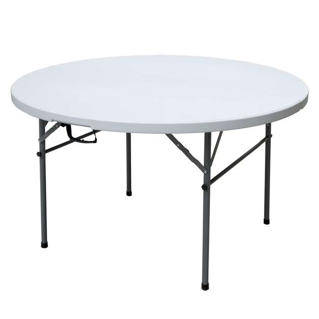 TGT8902 Plastic Development Group 4 Foot Round Fold In Half Folding Banquet Table, White