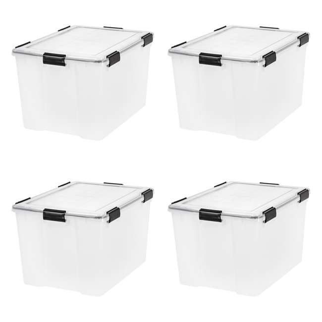 4 x 110586 IRIS USA Weathertight 74 Quart Buckle Down Storage Latch Box Container (4 Pack)