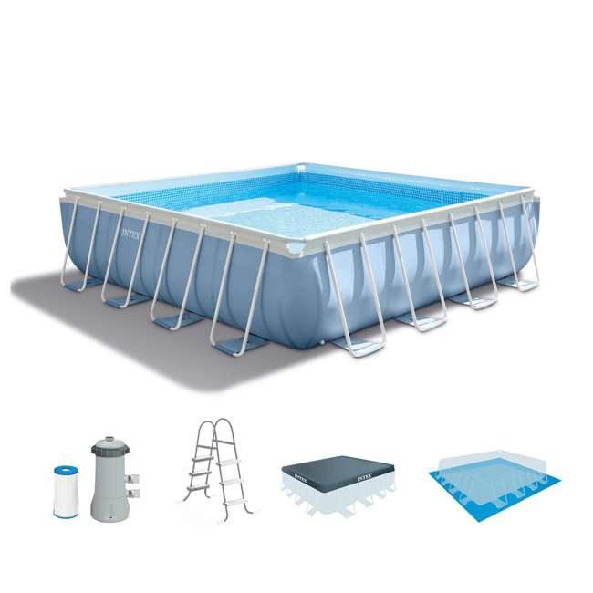 Intex 14 feet x 42 inches prism frame swimming pool set for Intex pool handler