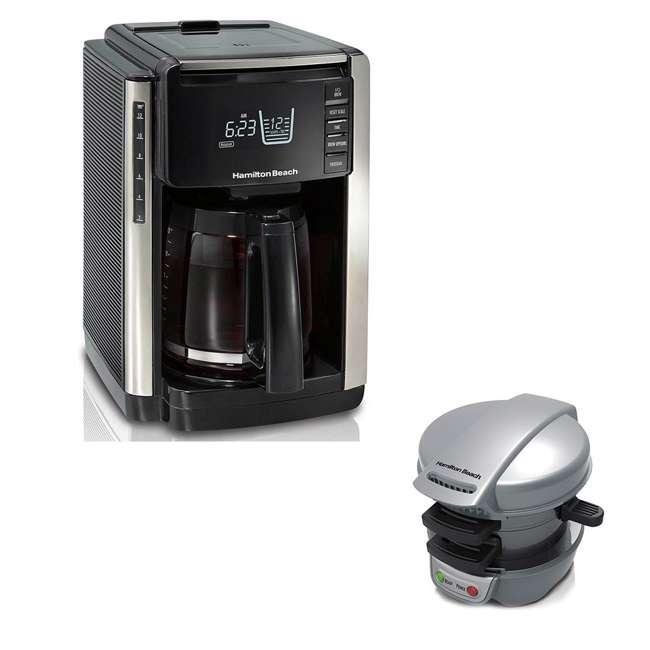 45300 + 25475 Hamilton Beach Coffee Maker & Top Press Breakfast Sandwich Maker