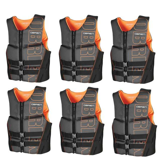 6 x 2161734-MW OBrien BioLite Series Men's Flex V Back Life Vest Size S, Black/Orange (6 Pack)