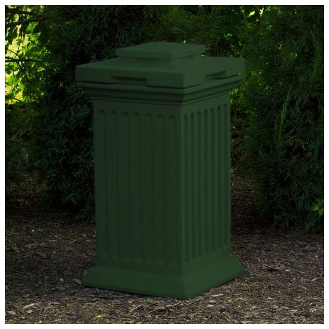 SV-COL-GRN Good Ideas Savannah Patio Outdoor Column 30 Gallon Storage and Waste Bin, Green 3