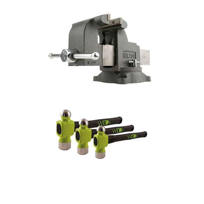 JPW-63304 + JPW-11110 Wilton WS8 8 Inch Steel Bench Vise w/ 3 Ball Peen Kit