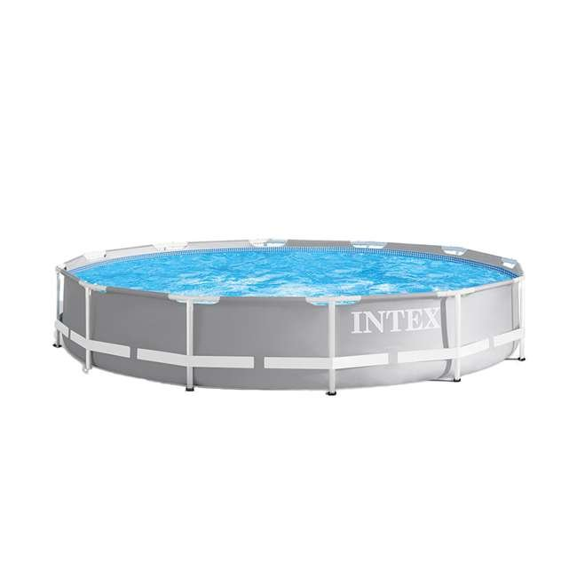 26711EH + 29022E Intex 12ft x 30in Prism Frame Above Ground Pool w/ Pool Solar Cover Tarp, Blue 1