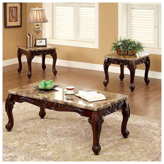IDF-4487-3PK-U-A Furniture of America Faux Marble 3 Piece Table, Dark Oak/Ivory (Open Box) 1