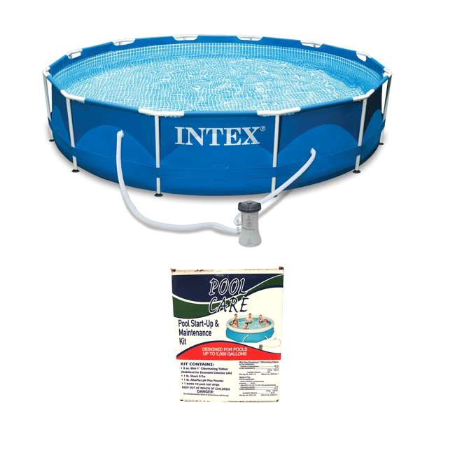 QLC-42001 + 28211EH Intex 12' x 2.5' Above Ground Swimming Pool + Qualco Swimming Pool Chemical Kit