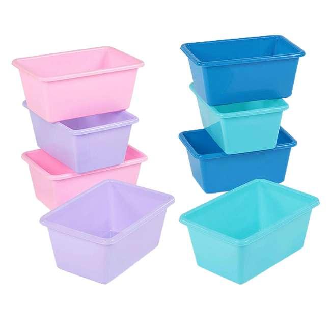 SM098 + SM111 Tot Tutors Plastic Storage Container Bins, Pink/Purple & Blue/Teal (Set of 8)