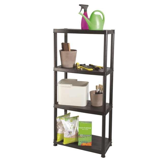 12004B-S Ram Quality Products Primo 12 x 4 inch 4 Tier Plastic Storage Shelves, Black 1