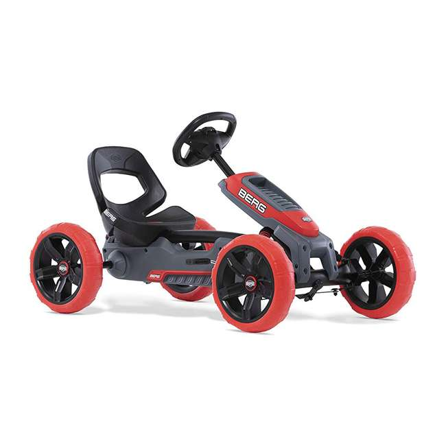 24.60.02.00 BERG Reppy Rebel Kids Pedal Go Kart Ride On Toy w/ Axle Steering, Red and Gray