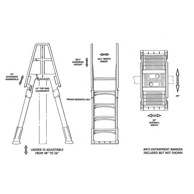 vinyl works aframe ladder with barrier for pools 48 to 56 inches tall