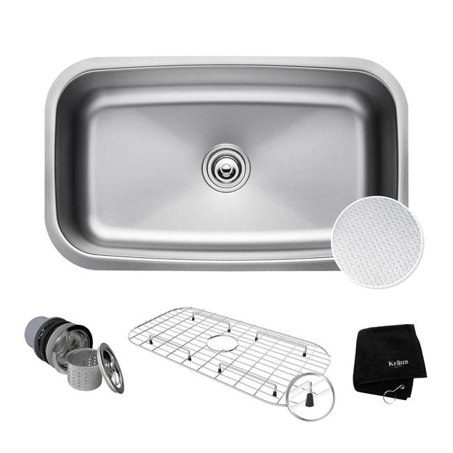 KBU14E Kraus Outlast 31.5-Inch Stainless Steel Undermount Single Bowl Sink (2 Pack) 1
