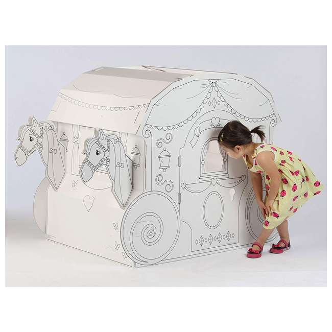 PC5536R My Very Own House Life-Size Coloring Playhouse Princess Carriage w/ 8 Markers 3