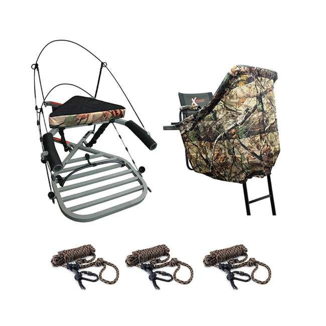 XSCT314 + XATA605 + XASA900-3 X-Stand X-1 Hunting Tree Stand w/ Camouflage Blind Kit & Rope System (3 Pack)