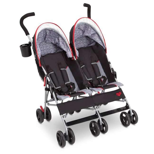 11709-2246 Delta Children LX Plus Side x Side Lightweight Double Stroller, Red Triangular 1