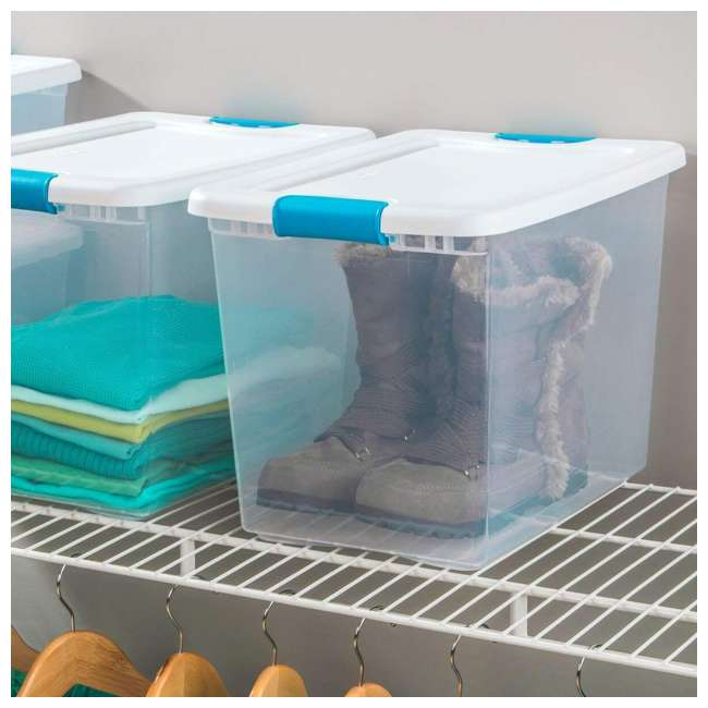 6 x 14958006 Sterilite 14958006 25-Quart Capacity Clear Storage Tote with Secure Latch Handles (6 Pack) 1
