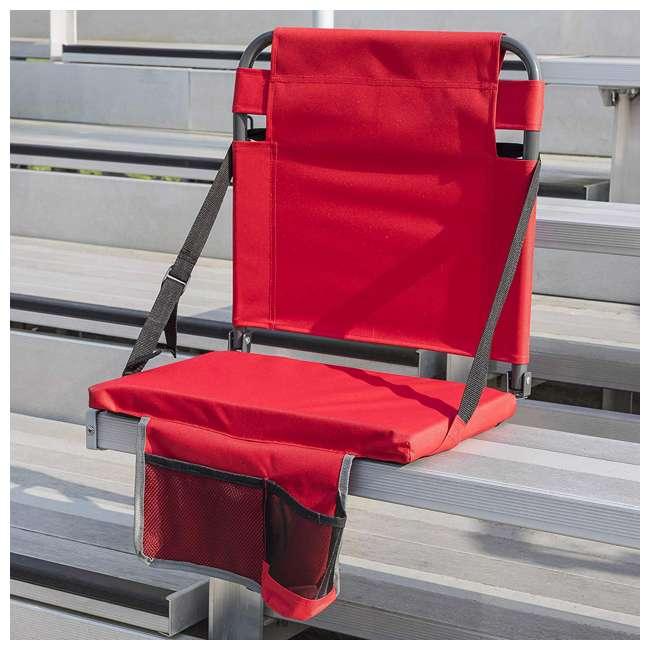 1-1-58813-DS-U-A Eastpoint Sports Adjustable Bleacher Backrest Seat, Red (Open Box) (2 Pack) 2