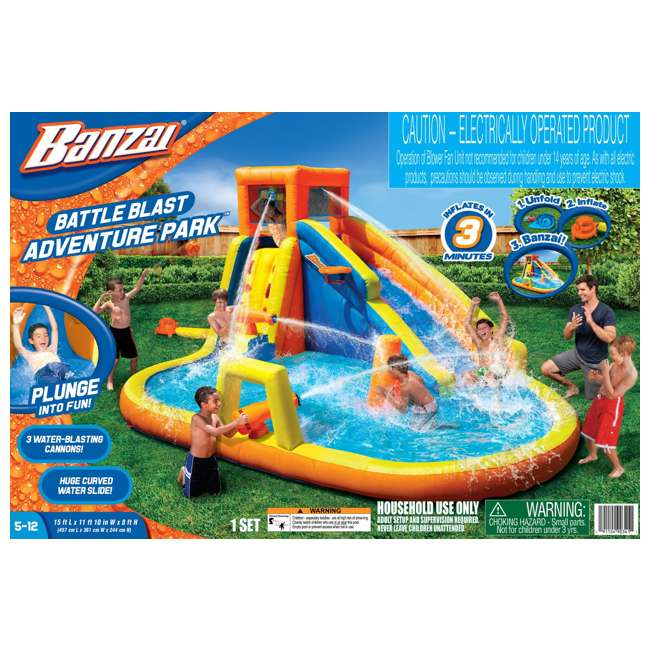BAN-90341 Banzai 90341 Battle Blast Adventure Park with Blower Motor and 3 Water Cannons 5