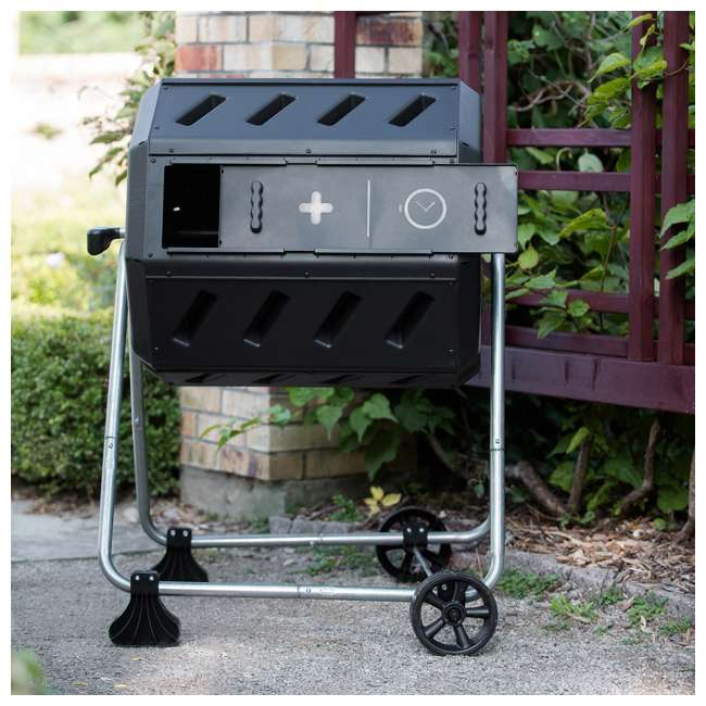 IM4000-WK FCMP Outdoor IM4000-WK 37 Gallon Dual Chamber Quick Curing Rotating Tumbling Composter Bin 5